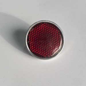 Reflector, red, with screw and aluminum frame, 54mm, plastic, Jawa