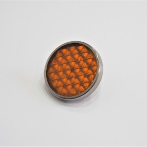Reflector orange, with screw, stainless steel frame, 51 mm, plastic, Jawa