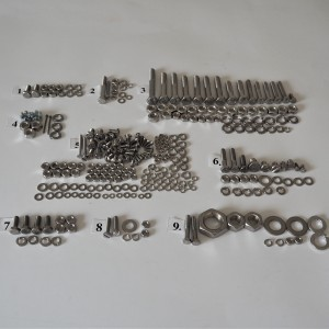 Screw set, all without engine, stainless steel, Jawa 50 type 20