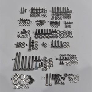 Screw set, all without engine, stainless steel, Jawa 350/354