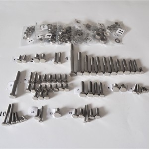 Screw set, all without engine, stainless steel/polished, Jawa 50 type 23 Mustang