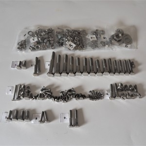 Screw set, all without engine, stainless steel/polished, Jawa 50 typ 20