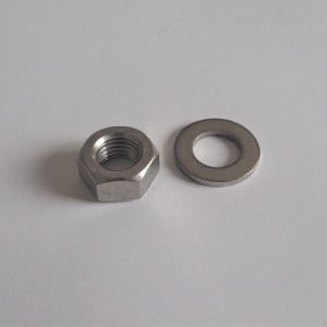 Nut + washer for footrest thread M10x1 mm, stanless, Jawa, CZ