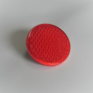 Reflector, red, with screw, 60mm, plastic, Jawa