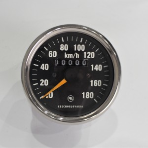 Speedometer, 180 km/h, chromed frame, yellow needle, Jawa 634-640