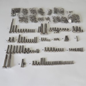 Screw set, all without engine, stainless steel/polished, Jawa 350/638