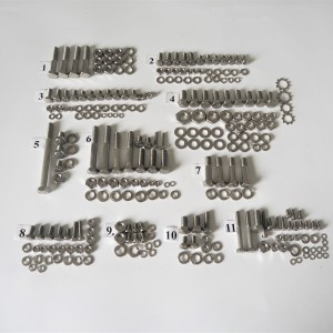 Screw set, all without engine, stainless steel, CZ 125-250 typ 450/453/455/475/470/473