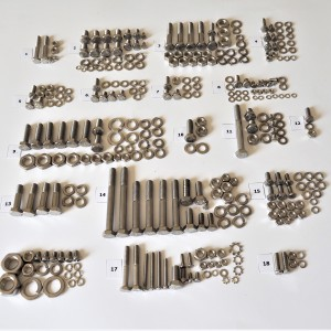 Screw set, all without engine, stainless, Jawa 350 Panelka type 360/361