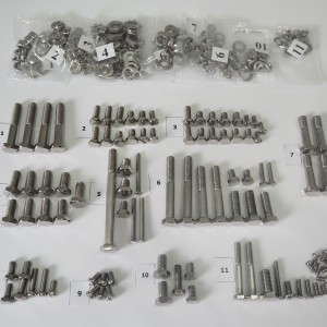 Screw set, all without engine, stainless steel/polished, CZ 125-250 typ 450/453/455/475/470/473, switch box in fuel tank