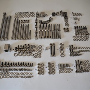 Screw set for the whole motorcycle, stainless steel/polished Jawa 350 OHV