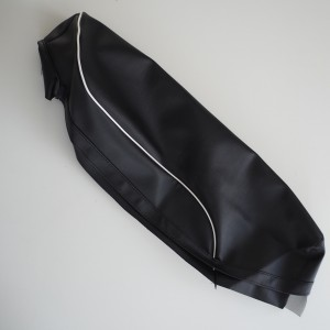 Seat cover, black with white line, Jawa, CZ - Panelka/Kyvacka