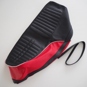 Seat cover, black-red with white line, Jawa 634