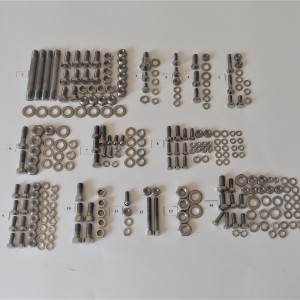 Screw set, body + engine, stainless steel/polished, Jawa Special