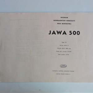 Spare parts catalogue JAWA 500 OHC - L.CZECH, A4 format, 60/120 pages