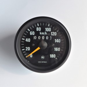 Speedometer, 180 km/h, black frame, yellow needle, original, Jawa 634-640