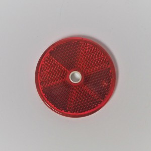 Reflector, red, on the screw, 60 mm, plastic, Jawa, CZ