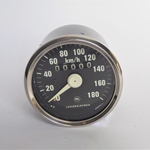Speedometer, 180 km/h, chromed frame, white needle, Jawa 634-640