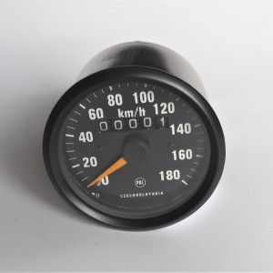 Speedometer, 180 km/h, black frame, yellow needle, Jawa 634-640
