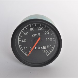 Speedometer, 180 km/h, black frame, orange needle, Jawa 634-640