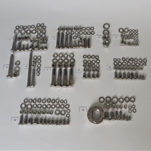Screw set, all without engine, frame with shock absorbers, stainless steel/polished, CZ 150