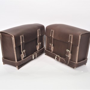 Set of bags, brown dark, leather, 230x170x90mm, Jawa Special