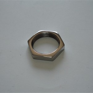 Nut M26/1, key 32mm, stainless steel, polished, Jawa Perak, Jawa 50