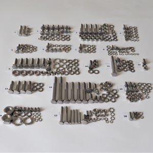 Screw set, all without engine, stainless, Jawa 250 Panelka type 559, 590
